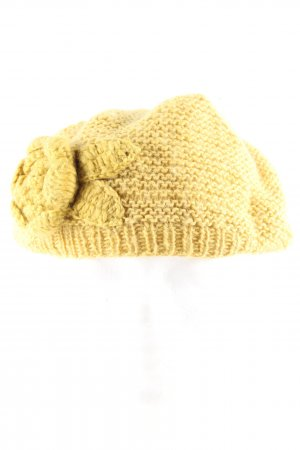 People tree Chapeau en tricot jaune primevère style décontracté