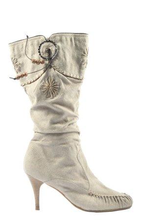 Pep Step Botas de tacón alto blanco puro elegante