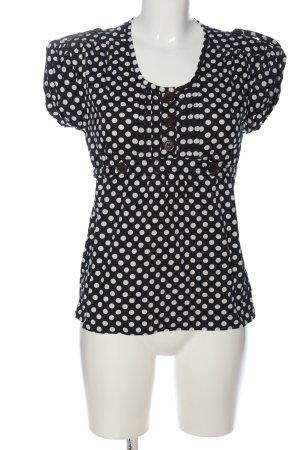 Pepaloves Blusa de manga corta negro-blanco estampado a lunares look casual