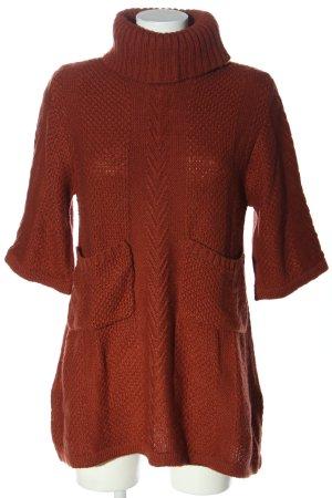 Pepaloves Sweter z krótkim rękawem brązowy Warkoczowy wzór W stylu casual