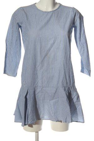 Pepaloves Vestido de manga larga azul-blanco estampado a rayas look casual