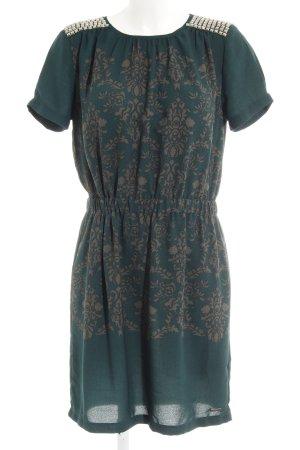 Pepe Jeans A-Linien Kleid grau-waldgrün abstraktes Muster Casual-Look