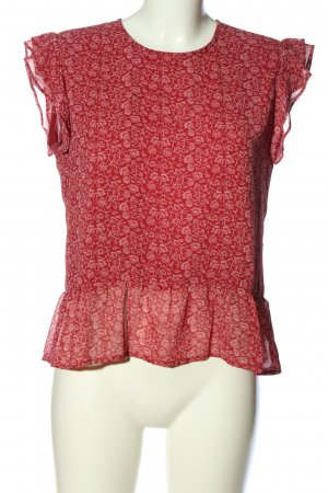 Pepe Jeans ärmellose Bluse rot-weiß Allover-Druck Casual-Look