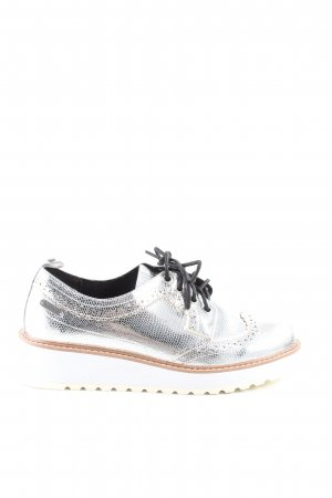 Pepe Jeans Wingtip Shoes silver-colored animal pattern extravagant style