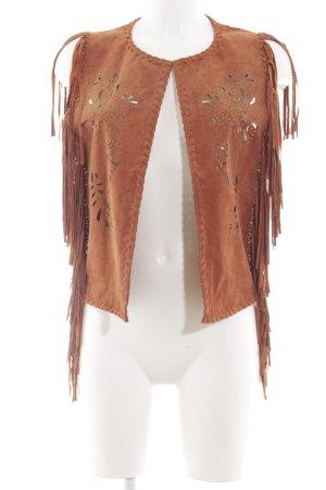 Pepe Jeans Chaleco con flecos coñac-marrón estampado azteca