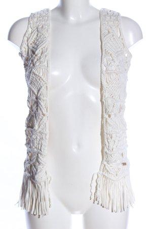 Pepe Jeans Chaleco con flecos blanco look casual