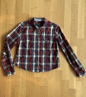 Pepe Jeans Hemd Bluse Langarm Rot Blau Kariert Gr XL