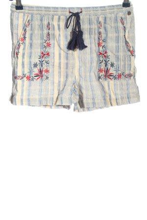 Pepe Jeans Hot Pants blau-creme Streifenmuster Casual-Look