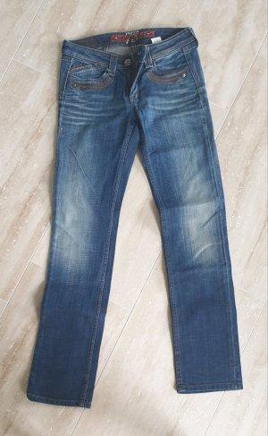 Pepe Jeans Jeans de moto bleu foncé-bleu coton