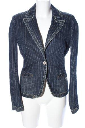 Pepe Jeans Spijkerblazer blauw-wit gestreept patroon zakelijke stijl