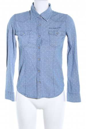 Pepe Jeans Jeansbluse blau Allover-Druck Casual-Look