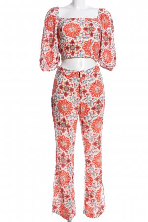 Pepe Jeans Twin set in jersey bianco-rosso stampa integrale elegante