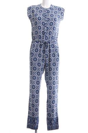 Pepe Jeans Jumpsuit blau-weiß abstraktes Muster Casual-Look