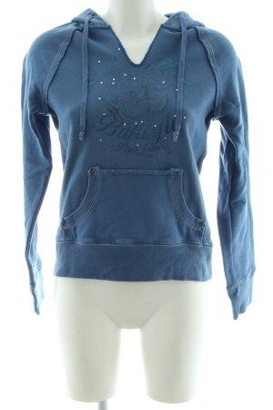 Pepe Jeans Kapuzensweatshirt blau Motivdruck Casual-Look