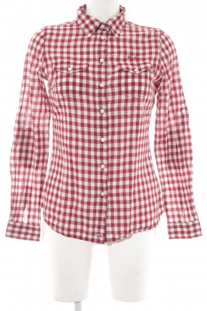 Pepe Jeans Karobluse weiß-dunkelrot Karomuster Casual-Look