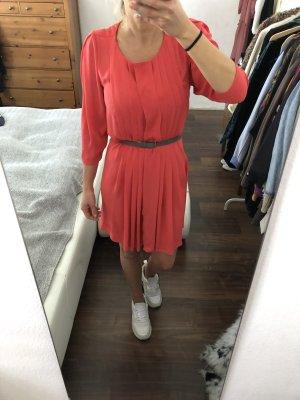 Pepe Jeans Kleid Plissee Blusenkleid Koralle Gr. XS 34
