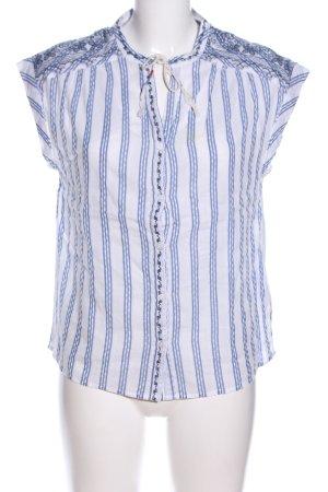 Pepe Jeans Kurzarm-Bluse weiß-blau Streifenmuster Casual-Look