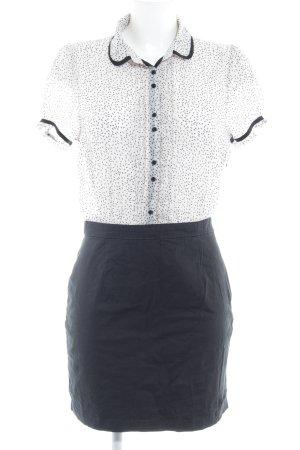 Pepe Jeans Kurzarmkleid schwarz-weiß abstraktes Muster Business-Look