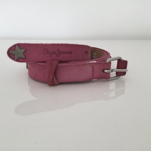 Pepe Jeans Leather Belt neon pink leather