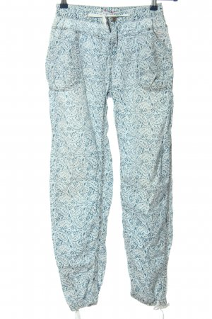 Pepe Jeans London Pantalone largo blu-bianco motivo astratto stile casual