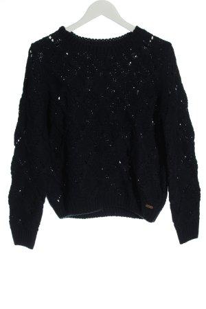Pepe Jeans London Pull en crochet noir style décontracté