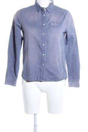 Pepe Jeans London Hemd-Bluse blau-weiß Allover-Druck Casual-Look