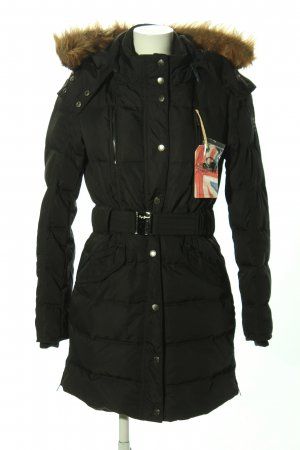 Pepe Jeans London Hooded Coat black quilting pattern casual look