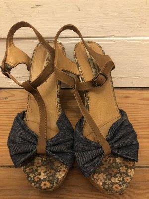 Pepe Jeans London Sandalias de tacón con plataforma marrón claro-azul claro