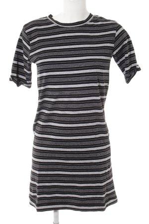 Pepe Jeans London Kurzarmkleid schwarz-weiß Streifenmuster Casual-Look