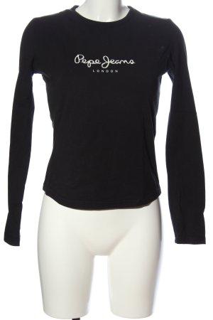 Pepe Jeans London Longsleeve schwarz-weiß Schriftzug gedruckt Casual-Look