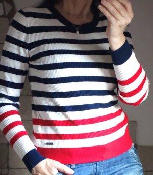 Pepe Jeans London, Pullover, Ripp Pulli, Streifen, hochwertige Viskose-Qualität mit Rippenstruktur, Offwhite, Dunkelblau, Rot, zweifarbiger Streifen, dezente Logo-Applikation aus Metall am Saum, Gesamtlänge 56 cm, NEU