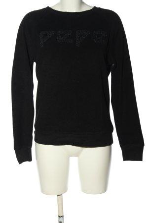 Pepe Jeans London Rundhalspullover schwarz Schriftzug gedruckt Casual-Look