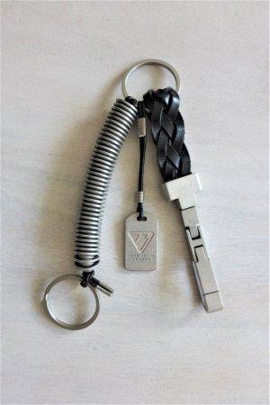Pepe Jeans London Schlüsselanhänger Karabiner Leder silber neu schwarz
