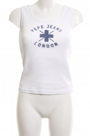 Pepe Jeans London Trägertop weiß-blau Schriftzug gedruckt Casual-Look