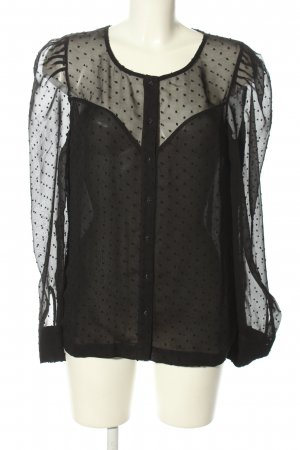 Pepe Jeans London Transparenz-Bluse schwarz Allover-Druck Business-Look