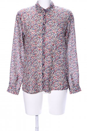 Pepe Jeans London Transparenz-Bluse rot-blau Allover-Druck Casual-Look