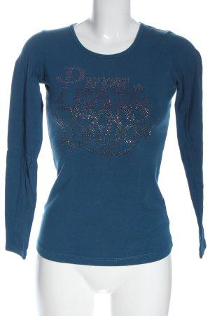 Pepe Jeans Koszulka z długim rękawem niebieski Wydrukowane logo W stylu casual