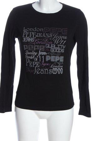 Pepe Jeans Longsleeve schwarz Schriftzug gedruckt Casual-Look