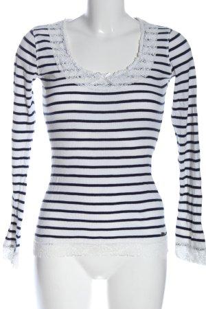 Pepe Jeans Longsleeve weiß-blau Streifenmuster Casual-Look