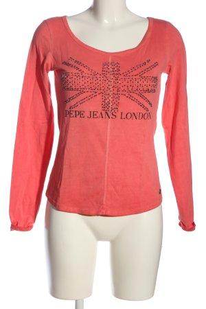 Pepe Jeans Longsleeve rot-schwarz Motivdruck Casual-Look