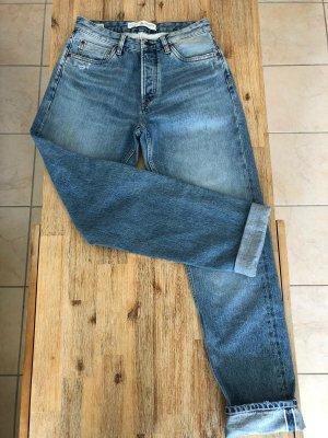 Pepe Jeans Spodnie z wysokim stanem niebieski
