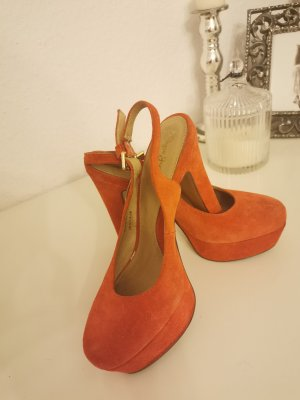 pepe jeans plateau high heels orange slingback echtleder