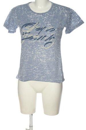 Pepe Jeans Print-Shirt blau-weiß meliert Casual-Look