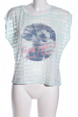 Pepe Jeans Print-Shirt blau-pink Motivdruck Casual-Look