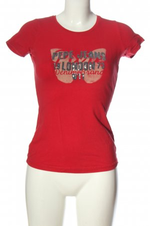 Pepe Jeans Print-Shirt rot Schriftzug gedruckt Casual-Look