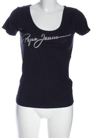 Pepe Jeans Print-Shirt schwarz Schriftzug gedruckt Casual-Look