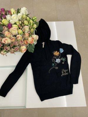 Pepe Jeans Pullover wolle strickpullover Blumen in S / 36 schwarz blau orange