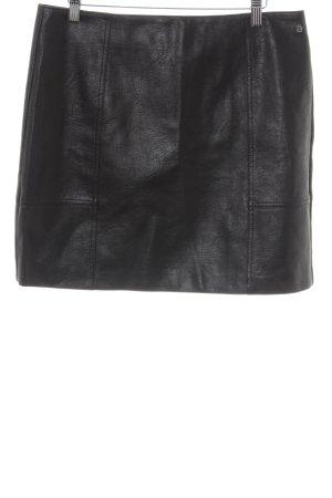 Pepe Jeans Kunstlederrock schwarz Logo-Applikation aus Metall