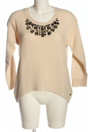 Pepe Jeans Rundhalspullover creme Zopfmuster Casual-Look