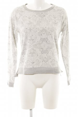 Pepe Jeans Rundhalspullover hellgrau-weiß Ornamentenmuster Casual-Look